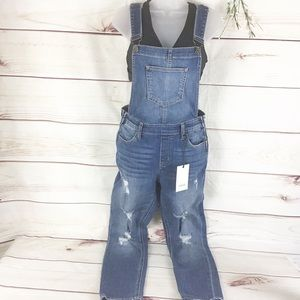 Cello Distressed Skinny Hipster Overall Jeans